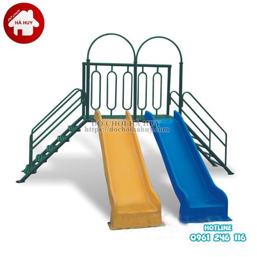 Thang leo cầu trượt đôi cho bé mầm non HB1-015-1