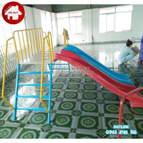 Thang leo cầu trượt đôi cho bé mầm non HB1-015-2
