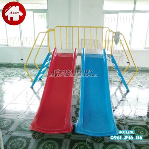 Thang leo cầu trượt đôi cho bé mầm non HB1-015-3