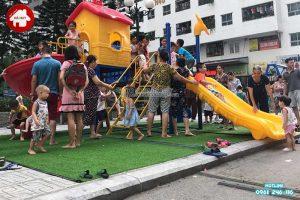 Lắp đặt thi công đồ chơi ngoài trời cho sân chơi của chung cư HH Linh Đàm – Hà Nội