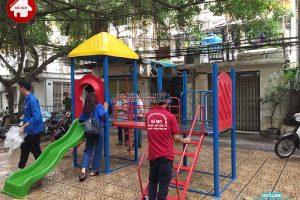 Sản xuất và lắp đặt đồ chơi cho sân chơi ngoài trời của Quận Đoàn Ba Đình – Hà Nội